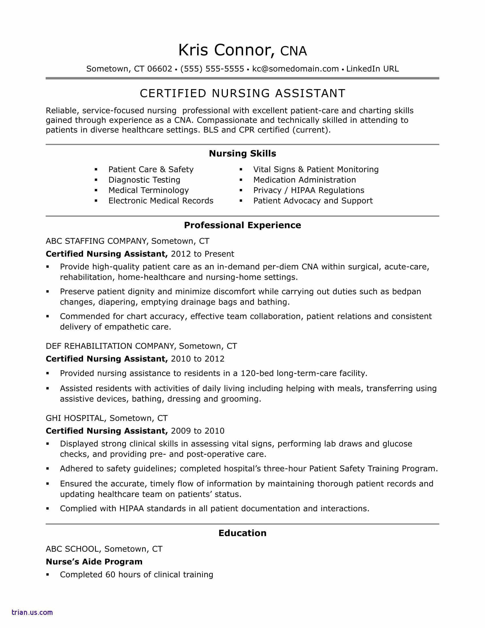 Premedical school resume lovely 8 nursing assistant