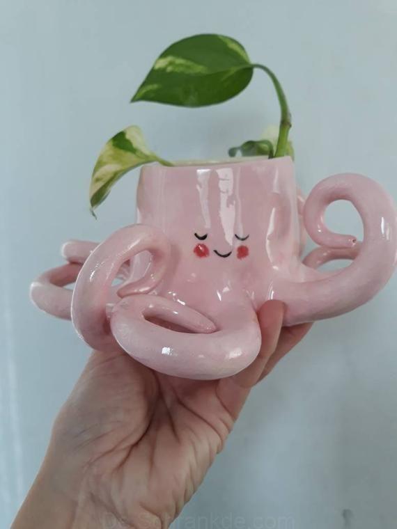 Keramik Pink Octopus Pflanzgefäß / Pflanzgefäß für Innenräume / Pflanzgefäß für Sukkulenten / Vase Erhältlich ab 19. August #vaseideen