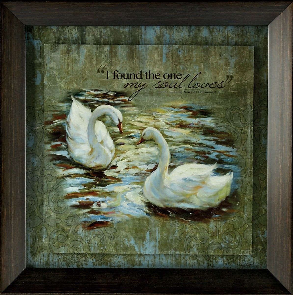 """[""""Perfect for a wedding gift, anniversary gift, or just an everyday gift to say, \""""I love you,\"""" this framed art piece is a lovely reminder of your relationship. The float-mounted art piece features two swans in a wood grain-look beveled frame. Above them is the verse: \""""I found the one my soul loves.\"""" - Song of Solomon 3:4<\/i>I Found the One<\/i> will remind you every day of the strength of your love, inspiring you to share that love forever.Framed art measures 19\""""(W..."""