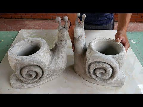 Project cement craft | Design pair bonsai pot form snails | Ideas garden decoration beautiful