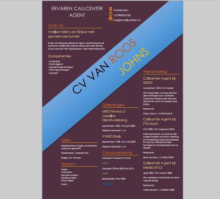 Deze CV template is te downloaden via onze website! U krijgt er een - resume u of t