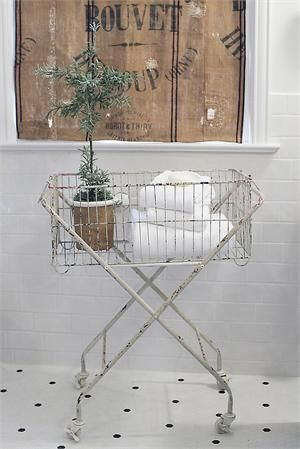 Inspired By Antique Laundry Carts This Metal Vintage Style Wire