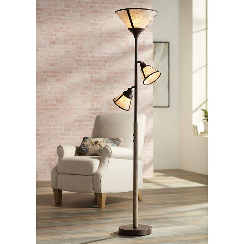 Plymouth Bronze Mica Shade Torchiere Floor Lamp 76c82 Lamps Plus In 2020 Torchiere Floor Lamp Floor Lamp Bronze Floor Lamp
