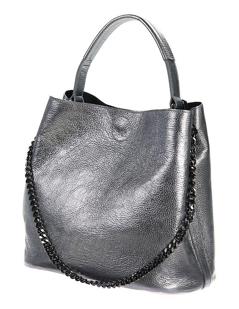 6fddb01e1bb5c Handgefertigt in Italien! Diese Tasche mit metallisch schimmerndem Leder  und angesagter Beutelform.