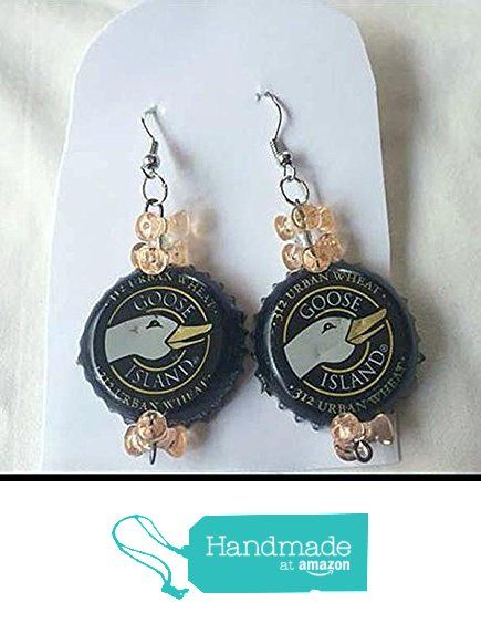 Goose Island Black Gold and Double Peach Tribead Upcycled Bottlecap Earrings from Southern Women Crafts https://www.amazon.com/dp/B01MRXZLMK/ref=hnd_sw_r_pi_dp_gq0uybYN1CBH9 #handmadeatamazon