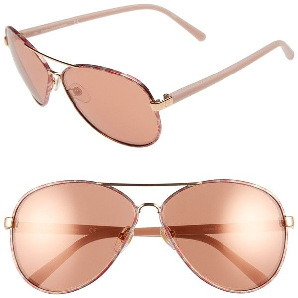 Diane von Furstenberg Women's Sental Aviator Metal Frame Sunglasses ($40) ❤ liked on Polyvore featuring accessories, eyewear, sunglasses, glasses, rose gold, brown lens sunglasses, metal sunglasses, nose pads glasses, metal aviator sunglasses and aviator glasses