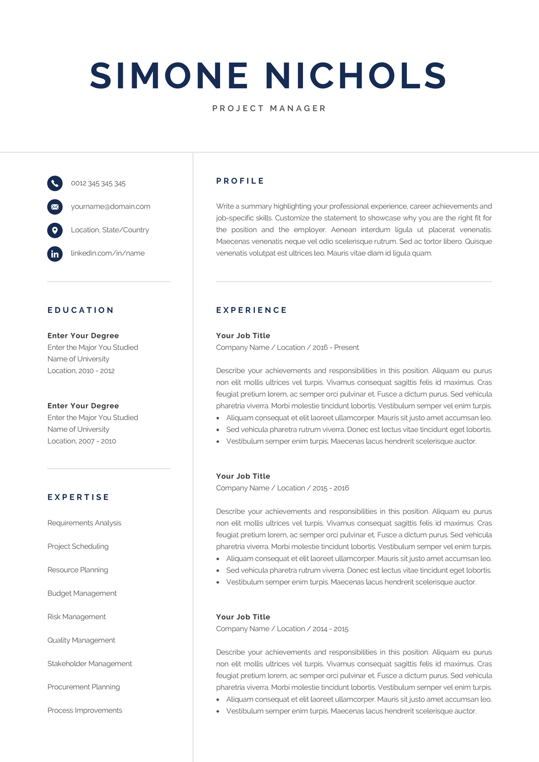 Professional Resume Template for Word & Pages | Executive ...
