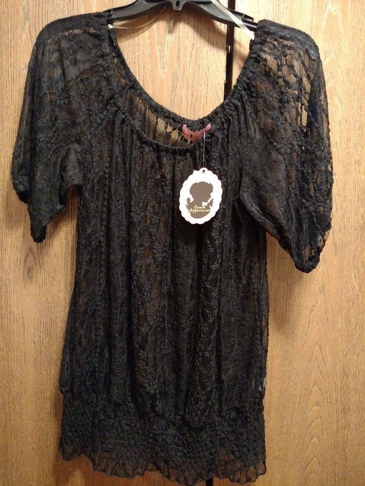 NWT Nordstrom Womens Large Sexy Black Lace Blouse Top Games Appearance Wench  #GamesAppearance #Blouse #Casual