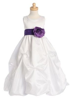 Bonnie  - White/Purple Gathered Dress   (Removable Sash)