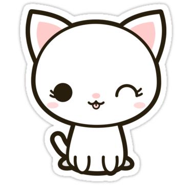 Resultado De Imagem Para Kawaii Cat Png White Cat Stickers Cute Drawings Cute Animal Drawings Kawaii