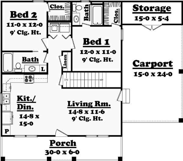 Country Style House Plans 900 Square Foot Home 1 Story 2 Bedroom
