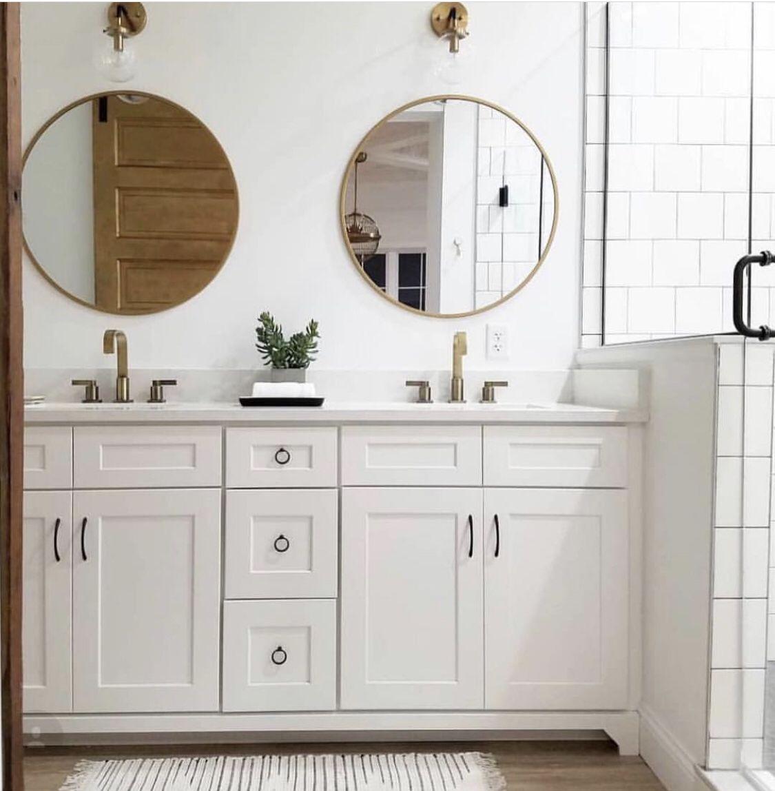 Senya Gold Leaf Round Mirror Round Mirror Bathroom Bathroom Interior Bathroom Design