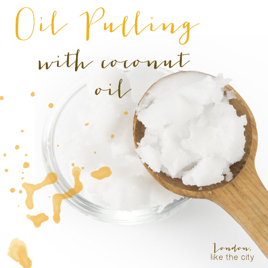 oil pulling with coconut oil...interesting way to get bacteria out of the mouth and whitens teeth