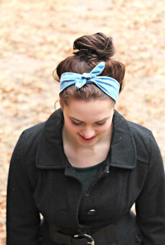 Vintage Inspired Bow Headband  messybun  hair  headband  headscarf ... 4e9269e6664