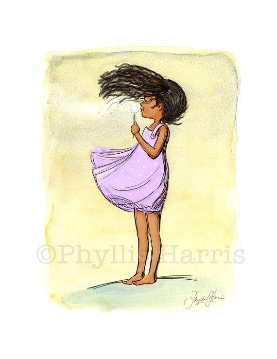 Children\'s Wall Art - African American Dandelion Girl - Nursey Wall ...