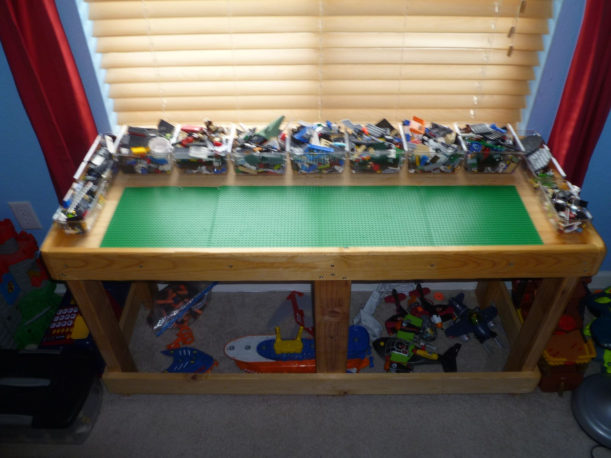 Lego Table. Husband Made Table Itself. Glued U0026 Screwed Building Platforms  To Front Part. Got Plastic Containers At Container Store For Storage (we  Also Have ...