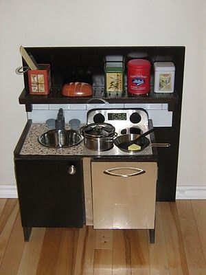 Another play kitchen, good ideas for a small one, different from the entertainment center ones.