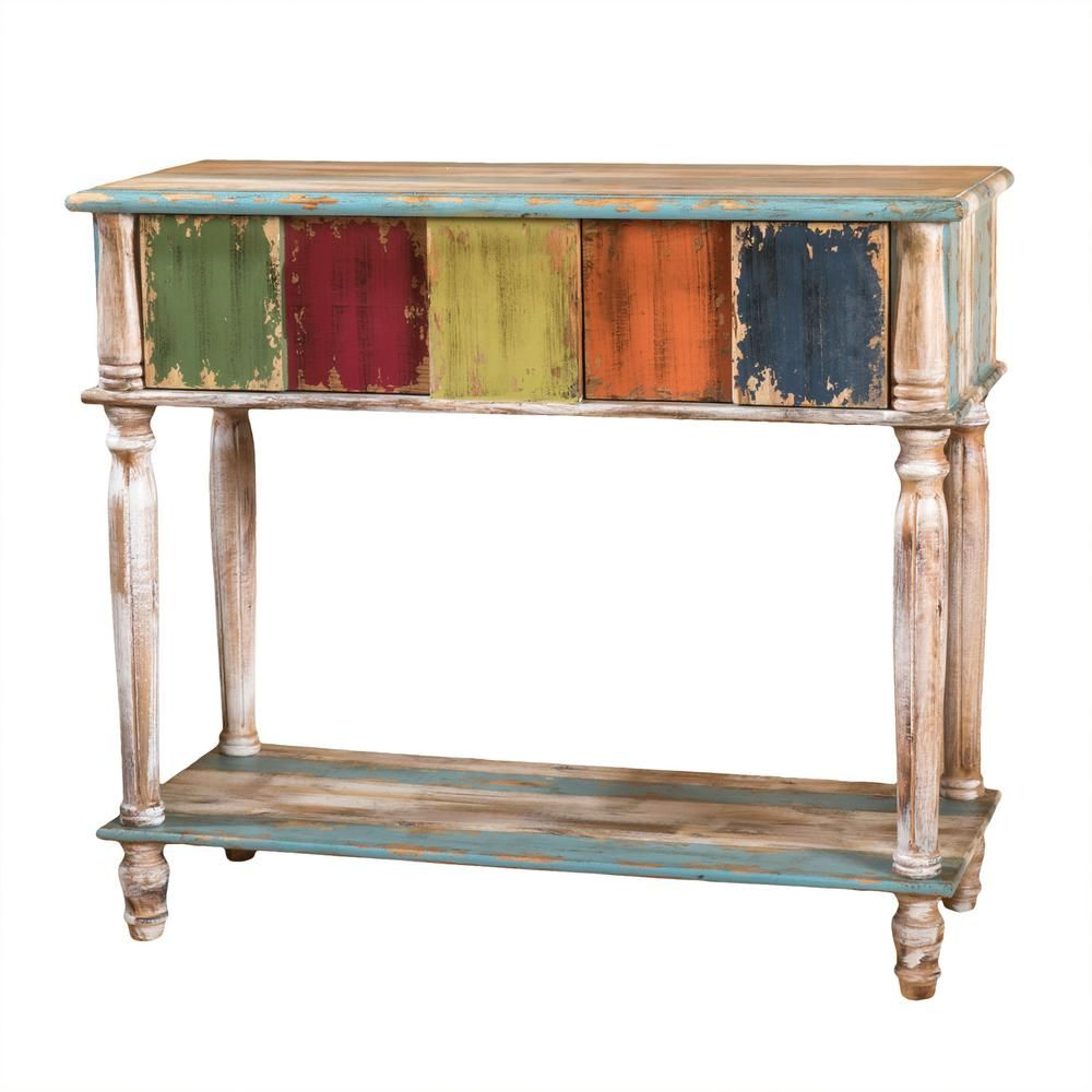 Noble House Rustic Distressed Multicolored 2 Drawer Wooden Console Table 295723 The Home Depot Wooden Console Table Wooden Console Console Table