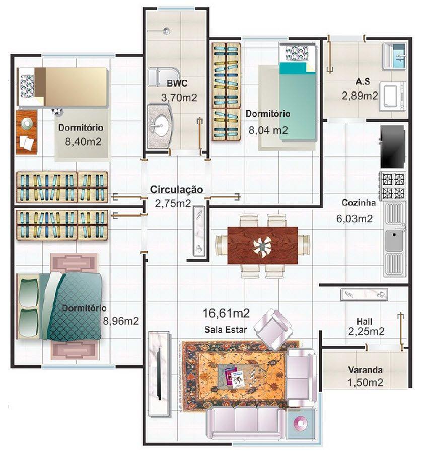 Dise o de casa peque a tres habitaciones planos for Diseno de habitacion principal pequena