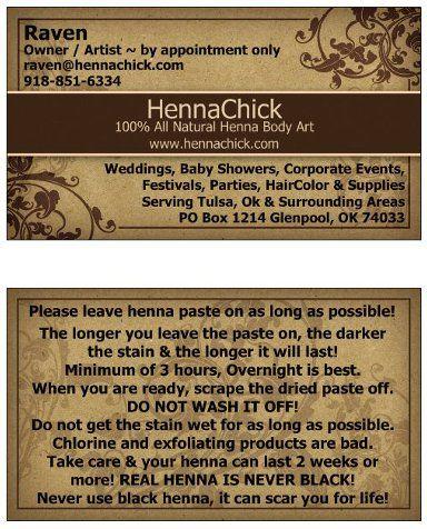 Hennachick Business Card Tattoos Piercings Henna Henna Artist