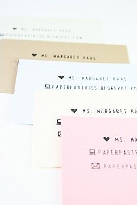 DIY stamped calling cards