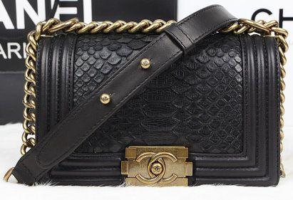 9636d6e4f9ad CN0051 Chanel Boy Flap Shoulder Bag Black Original Python Leather A67085  Gold
