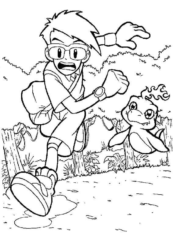 joe and bukamon running coloring page