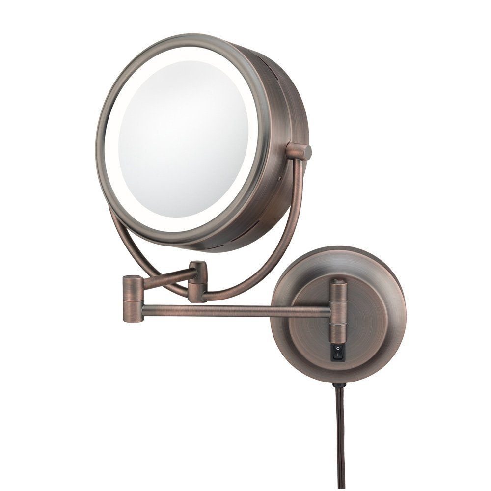 Kimball And Young 92515 Double Sided Neo Modern Led Lighted Mirror Plug In 1x And 5x Magnification Itali Mirror With Lights Makeup Mirror With Lights Mirror