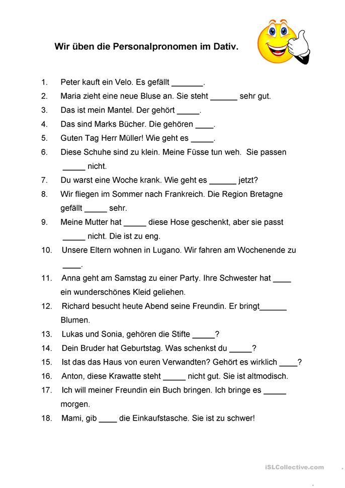 Personalpronomen im Dativ | deutsch | Language und Worksheets
