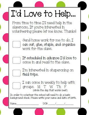 Parent Volunteer Form Parent volunteer form, Parent volunteers - parent survey template