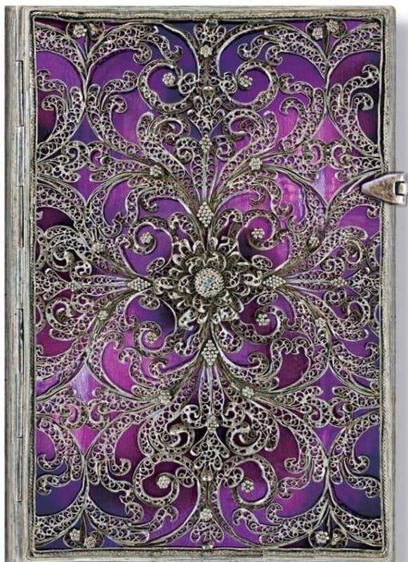 Silver Filigree Journal - Aubergine Midi
