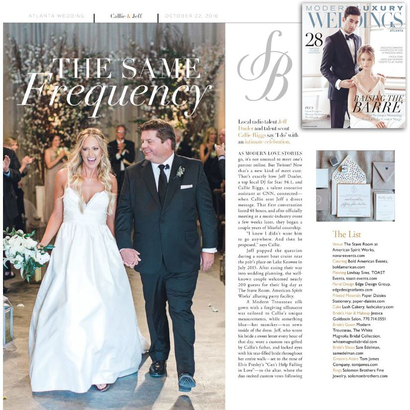 @calliedauler was sparkling from head to toe in diamond jewelry from Solomon Brothers when she walked down the aisle to marry @jeffdauler! The only things brighter were the smiles on their faces! We absolutely love this feature on the happy couple in the latest issue of Modern Luxury Weddings Atlanta!