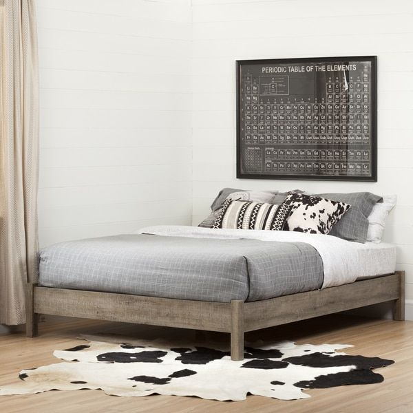 South Shore Munich Queen Platform Bed Inch On Legs Weathered - Weathered oak bedroom furniture