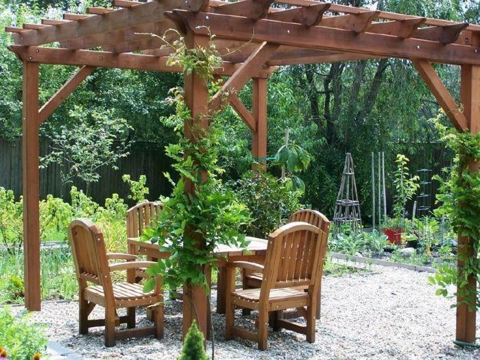 Garten Pergola Holzmöbel Kies Bereiche Terrassen  Und Innenhof   Gartengestaltung  Modern Kies
