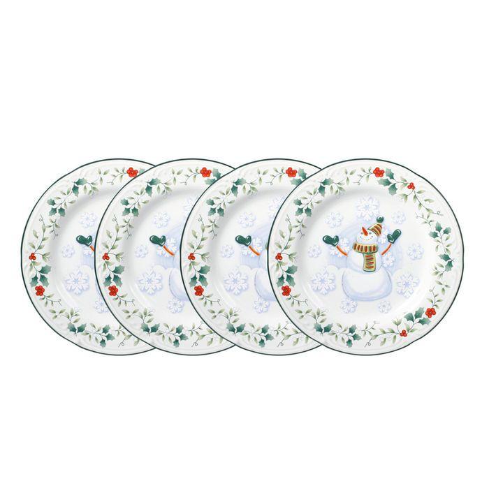 Set Of 4 Snowman Salad Plates Christmas Dinnerware Christmas Dinnerware Sets Fun Plates