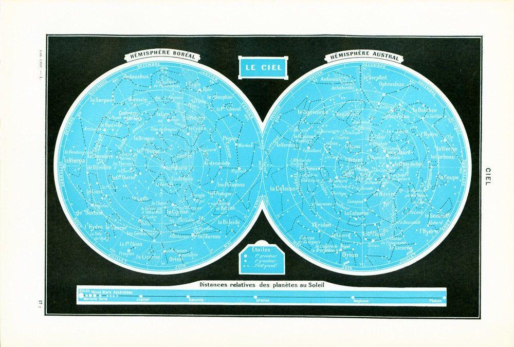 1948 Carte Du Ciel Distances Relatives Des Planetes Au Ciel