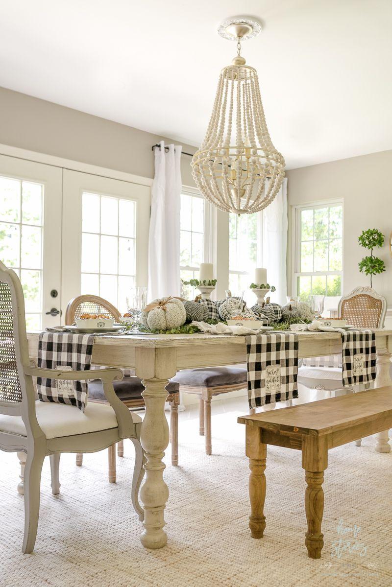 Beautiful black white buffalo check farmhouse fall table