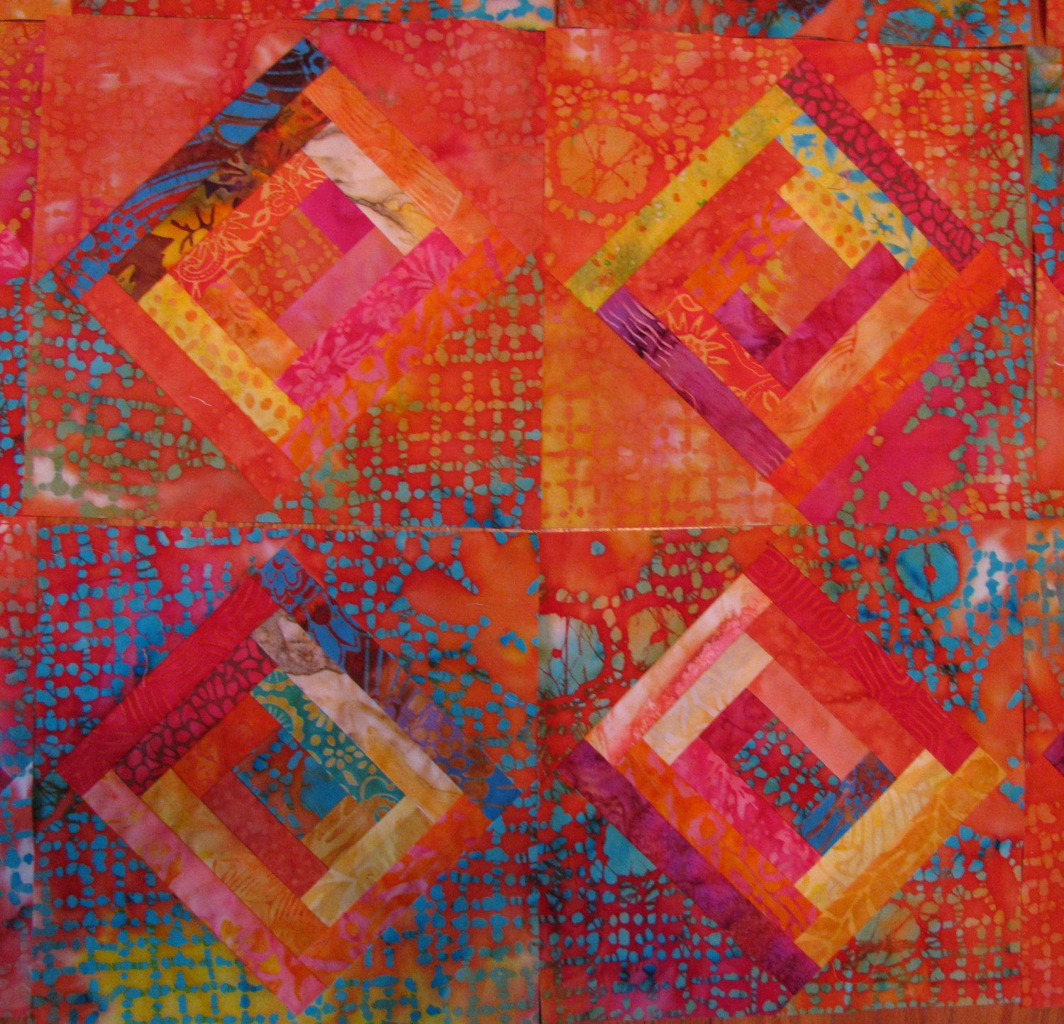 tropical delight log cabin quilt blocks just looking at the colors