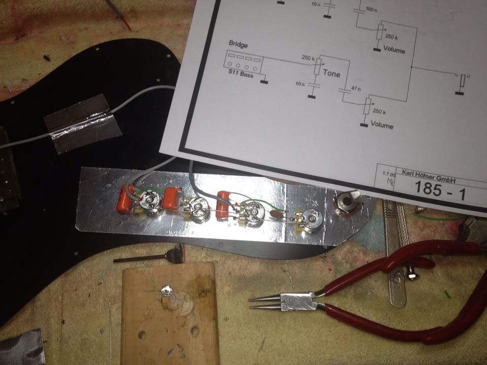 Wiring A Hofner The Bass Guitar Doctor Pinterest - Hofner bass wiring diagram