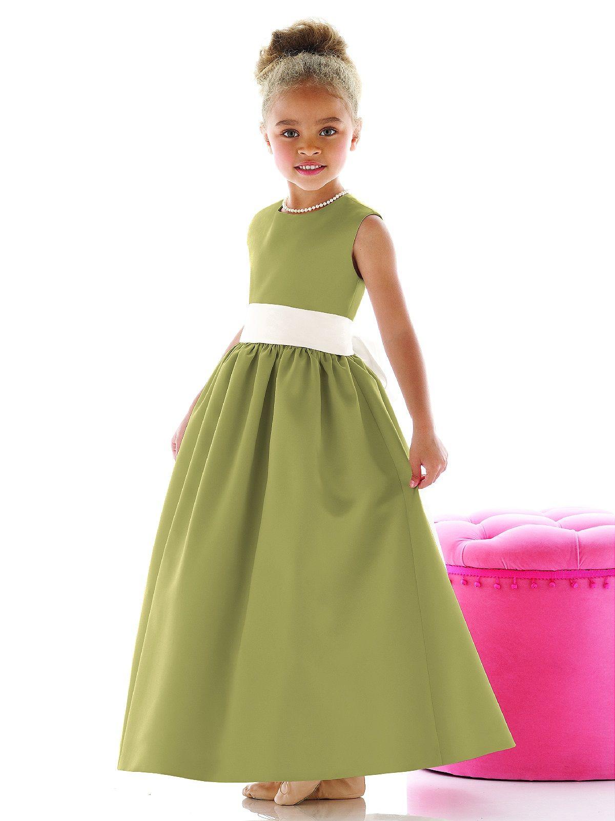 flower girl in citron green
