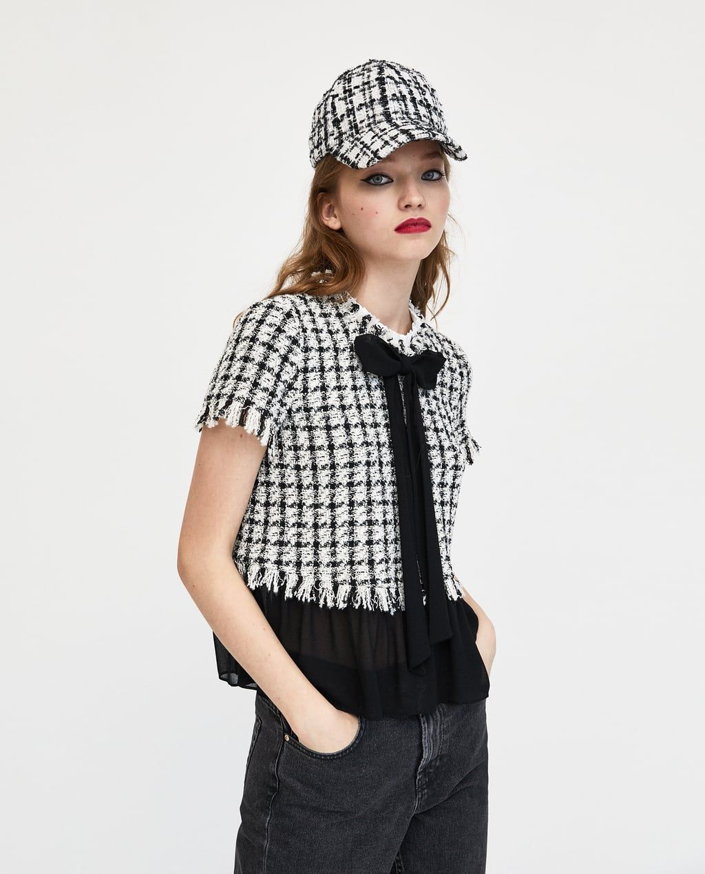 37694a98c9 Image 4 of CONTRASTING TWEED TOP from Zara | Fashion | Tweed ...