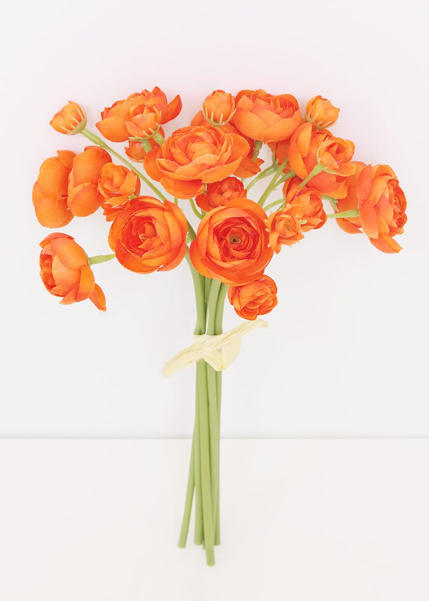 Artificial Ranunculus Bundle In Orange 11 In 2020 Orange Wedding Flowers Artificial Flowers Wedding Diy Bridal Bouquet