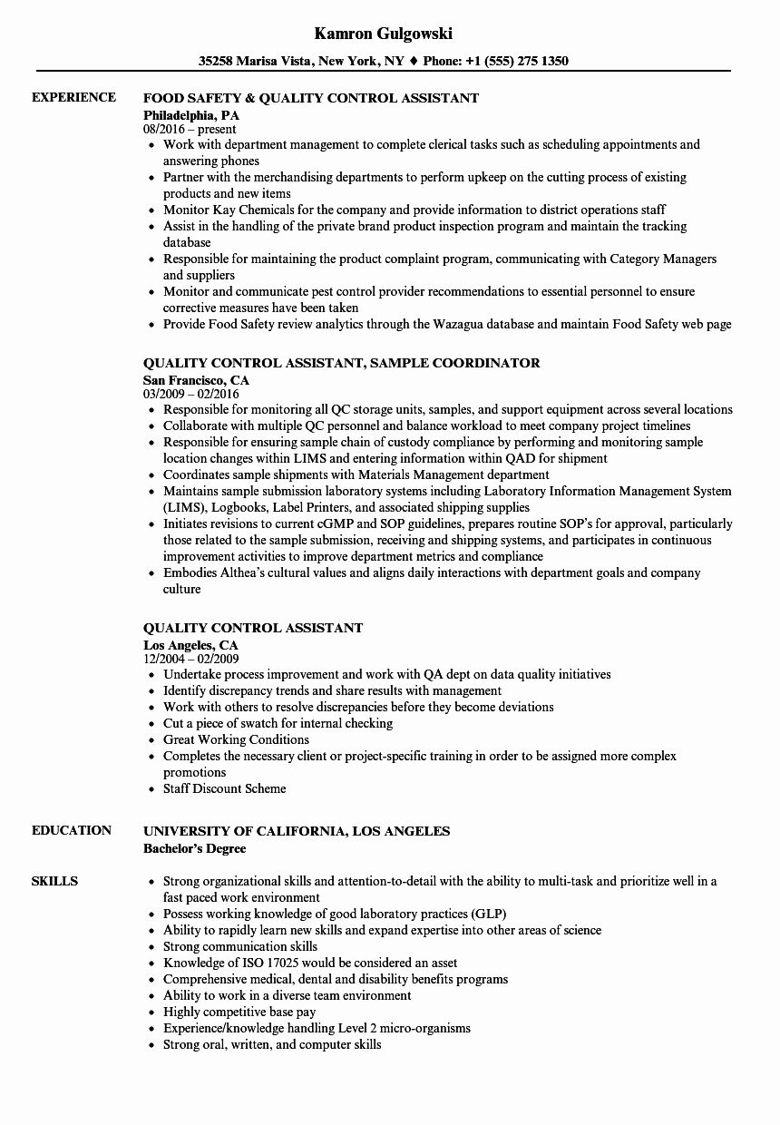 Quality Control Resume Examples Lovely Quality Control