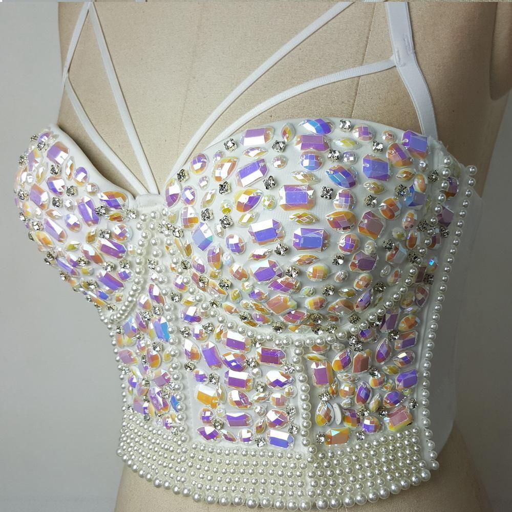 Uhren & Schmuck Ballroom/costume/stage Rainbow Mermaid Crystal Rhinestone Beading Diamond Rivet Jeweled Pearl Push Up Bustier Crop Top Corset