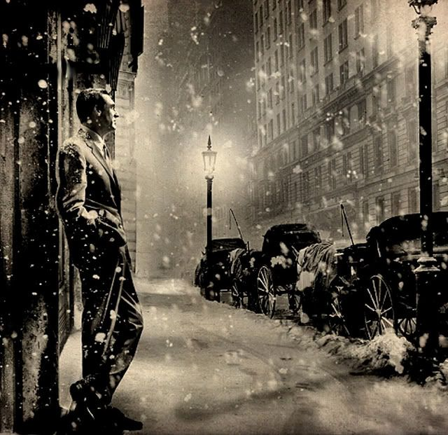 Cary Grant looking mighty whimsical in New York City in the snow ...