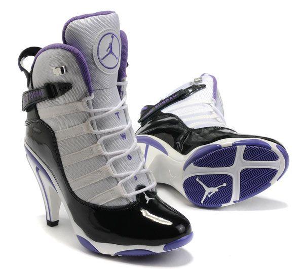 Women Jordan Shoes 6 Rings High Heels White Black Purple
