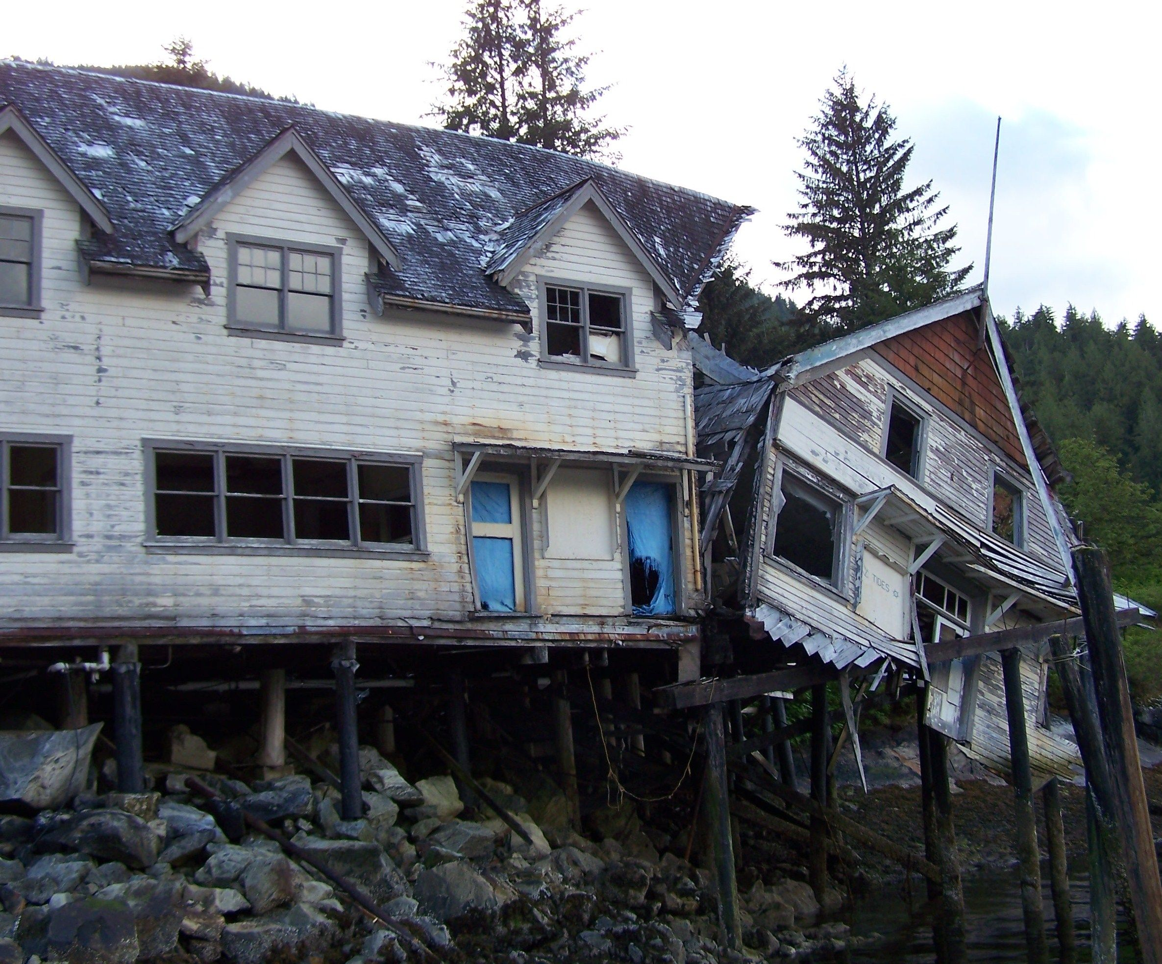 Abandon house at butedale princess royal island bc canada