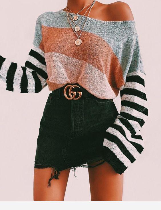 Denim mini skirt, blouse