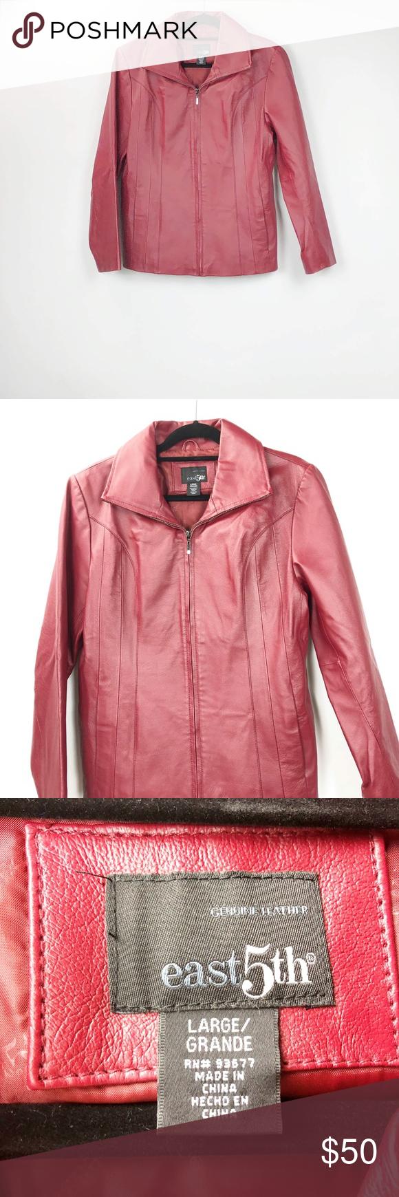 East 5th Red Fullzip Genuine Leather Jacket Genuine