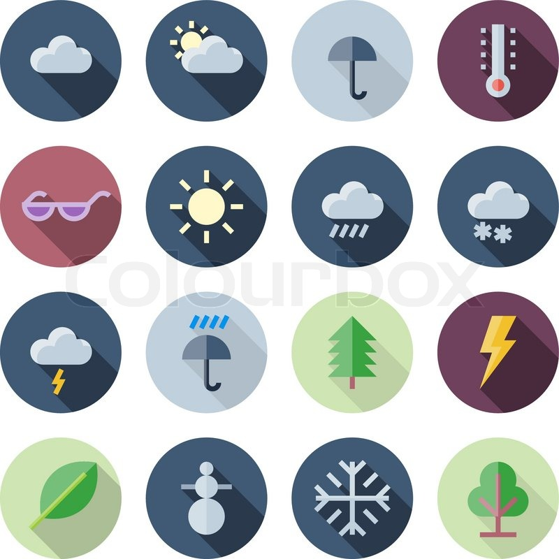 Flat Design Icons For Weather and in 2020 Flat